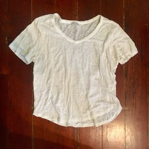 Zara TRF White Linen V Neck Short Sleeve Tee S
